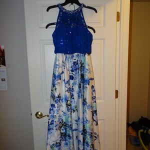 Blue and floral long skirt two pieced prom dress